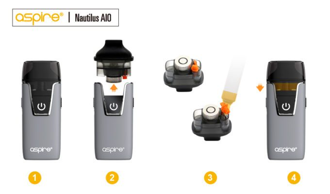 Aspire Nautilus AIO starter Kit one of the easiest pod systems to refill